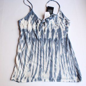 Chaser Gauzy Cotton Knot Front Tank Cami Tie Dye L